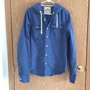 Men's Hollister button up with hood